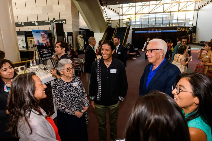 The film Premiere took place at the Smithsonian Institute National Air and Space Museum, Washington, DC, July 10, 2019.  Pictured at the reception are Professor Manuel Calderon de la Barca Sanchez with members of his family, graduate student Santona Tuli,
