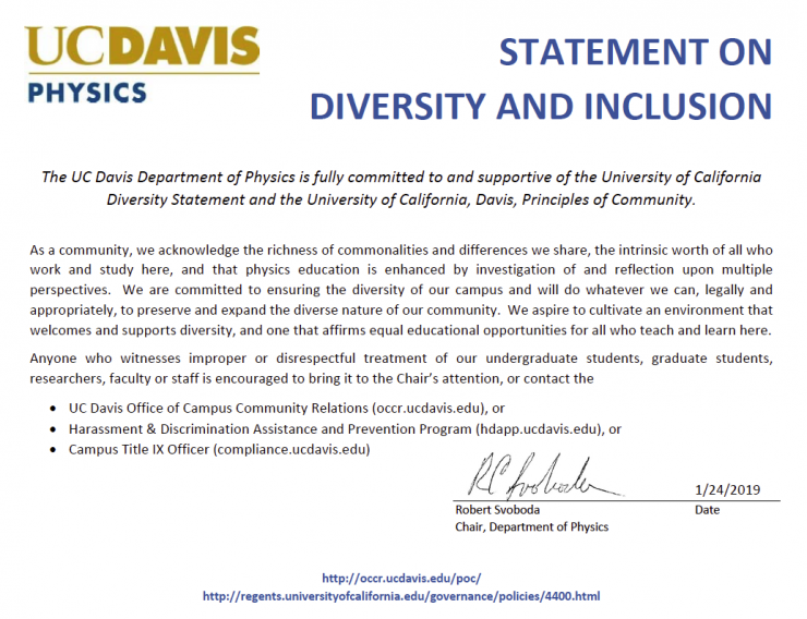 Physics Department statement on diversity and inclusion. Click on this image to download a PDF of this statement.